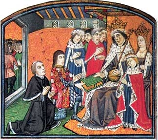 Earl Rivers Presents Printed Book to King Edward VI
