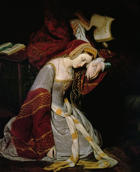 Queen Anne Boleyn in the Tower of London. Is the woman comforting Anne her aunt? (oil on canvasbyy Edouard Cibot, 1835)