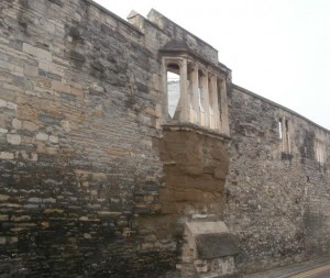 Pictured is only surviving wall and oriel window of the medieval abbot's lodgings at Gloucester Abbey (now Cathedral).