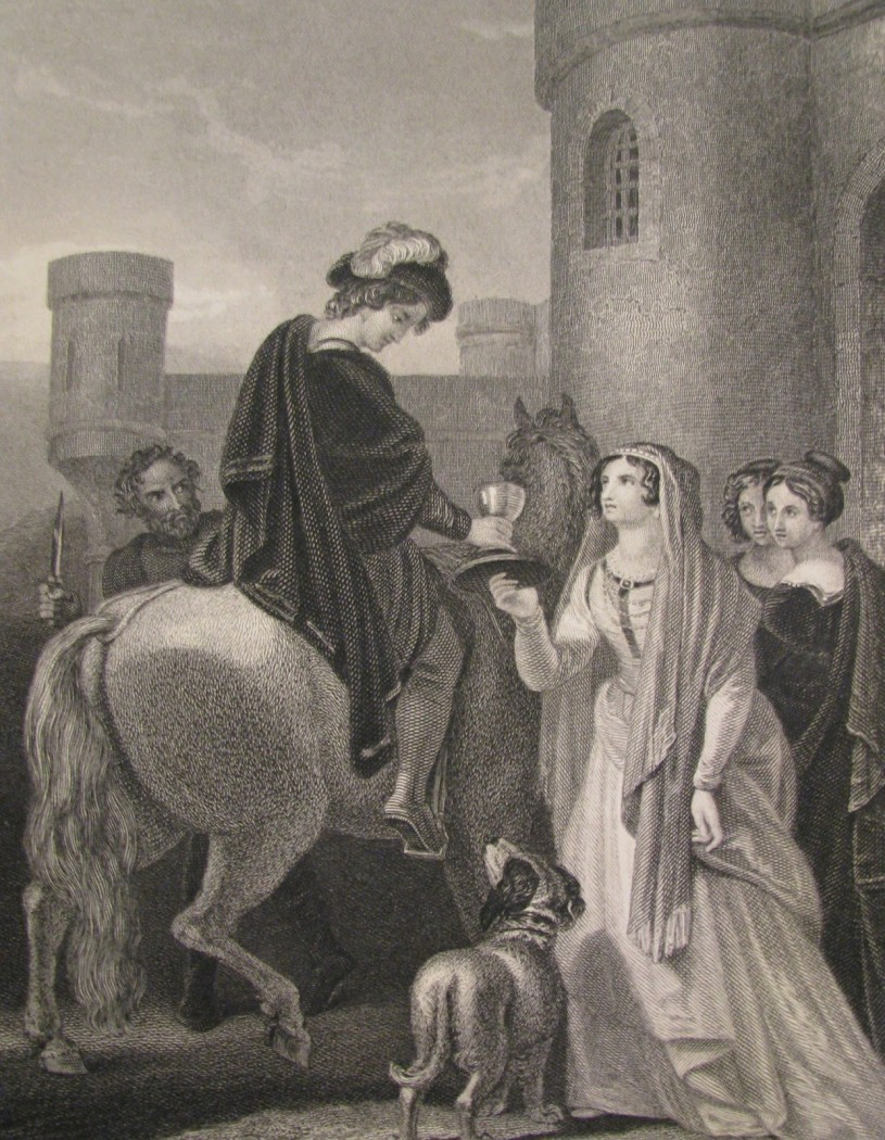 A Victorian Era depiction of the murder of King Edward the Martyr. Note Queen Elfrida offering him refreshment.