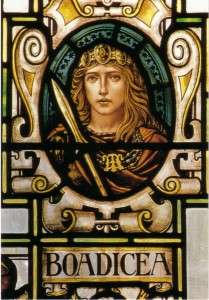 An Edwardian stained glass impression of Warrioor Queen Boadicia in Colchester Town Hall.