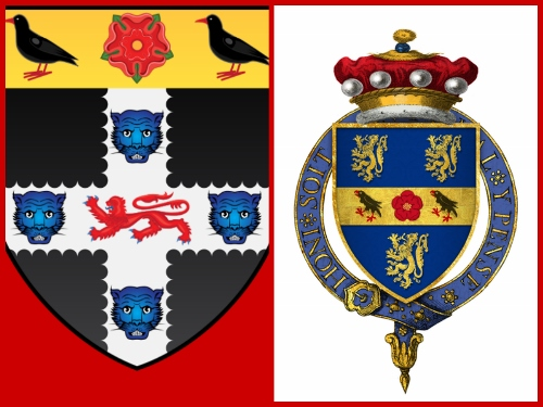 Coat of Arms of Thomas Wolsey (left) and Coat of Arms of Thomas Cromwell (right). Note the revered homage Cromwell pays to Wolsey at his installation as knight of the Most Noble Order of the Garter.