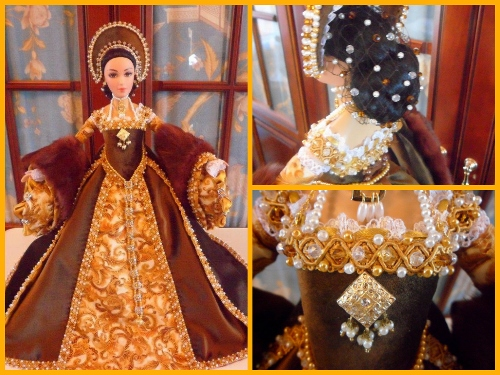 This exquisite Anne Boleyn doll was crafted for Queenanneboleyn.com by Gillian Leaf.