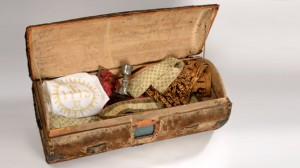 A Catholic priest disguised as a peddler, carrying this trunk, had everything he needed to carry out religious services.
