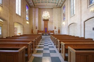 Rebuilt after World War II, here is the chapel of Dutch Church, Austin Friars today.