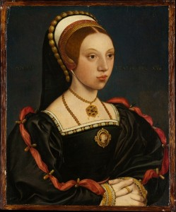 Identified (after Hans Holbein the Younger) Historian Conor Bryne and others believe this to be an authentic Holbein portrait of Queen Katherine Howard.
