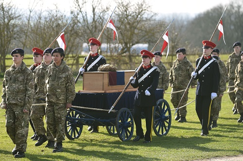 The coffin carrying the remains of Richard III leave after a service at Bosworth Battlefield in Nuneaton, Warwickshire, England, Sunday, March 22, 2015.