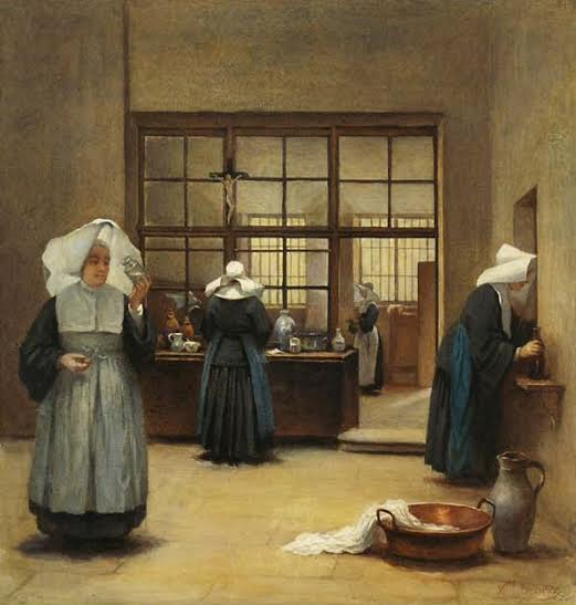 Here Carmelite nuns are busy at work making their famous toilet water.
