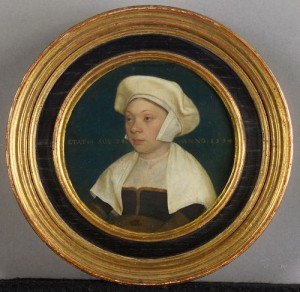 This beautiful miniature is  possibly Susan Horenbout, sister of Henry VIII's court painter Lucas Horenbout. Artist: Lucas Hoernbout