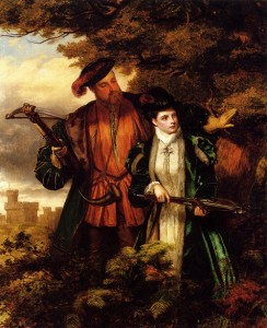 HENRY VIII and ANNE BOLEYN Deer Hunting in Windsor Forest Artist: William Powell Firth