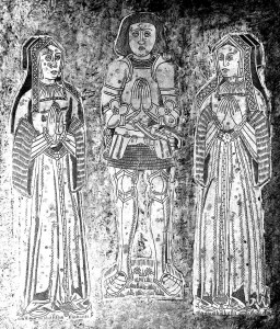 Monumental brasses of Sir John Bassett of Umberleigh, with his two wives, right: fist wife Ann Denys, left: second wife Honor Grenville, mother of the Lady Anne Bassett.