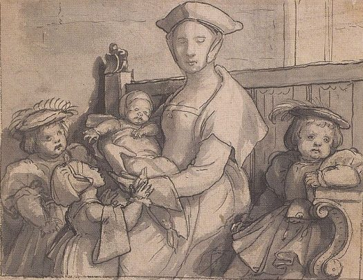 Sketch of a 16th-Century English Woman with Children Artist: Hans Holbein the Younger