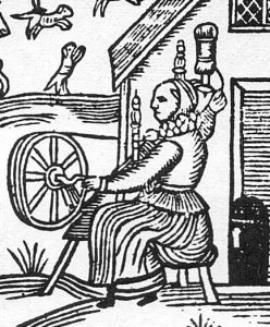 Woodcut of Tudor Era Woman Spinning Wool