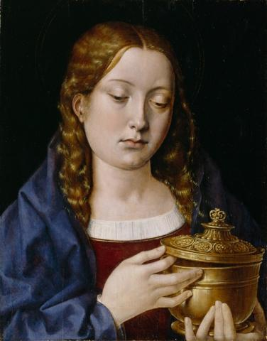 """Mary Magdalene"" Artist: Michael Sittow (circa 1469-1525) The teenager in this portrait is believed to be Catalina de Aragon, youngest daughter of Isabella de Castilla and Ferdinand de Aragon."