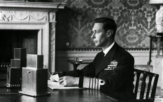 King George VI delivering his first Christmas Message Broadcast, 1939