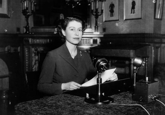 Queen Elizabeth II delivering her first Christmas Message Broadcast, 1952