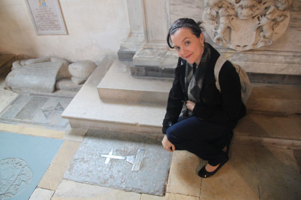 Here Natalie visits the grave of Anne Boleyn's brother, Thomas Boleyn the Younger, at Penshurst Church.