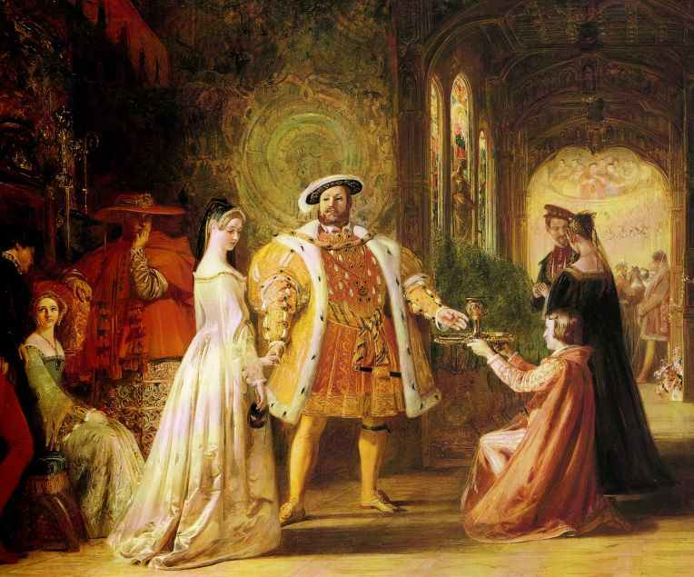 A 19th-century artist's depiction of the first meeting between Henry VIII and Anne Boleyn.